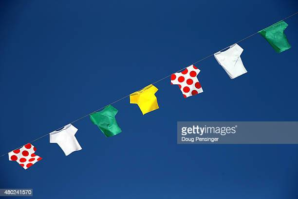 A banner celebrating the jerseys of Le Tour adorn the sky at the start of stage seven of the 2015 Tour de France from Livarot to Fougeres on July 10...