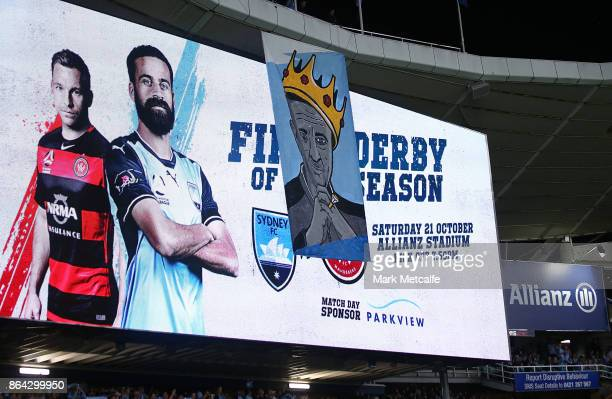 A banner depicting Graham Arnold as King is seen during the round three ALeague match between Sydney FC and the Western Sydney Wanderers at Allianz...