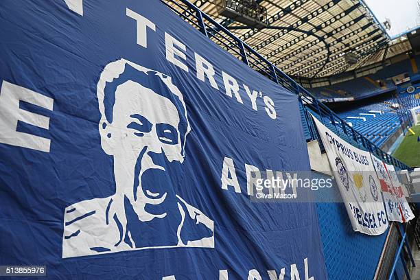 A banner depicting John Terry of Chelsea in seen prior to the Barclays Premier League match between Chelsea and Stoke City at Stamford Bridge on...