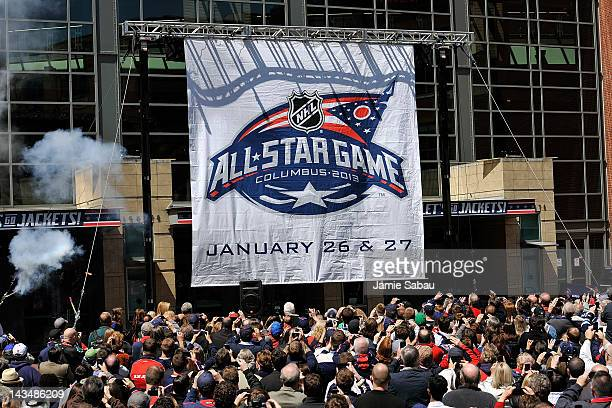A banner depicting the logo for the 2013 NHL AllStar Game is unveiled in front of Nationwide Arena on April 27 2012 in Columbus Ohio