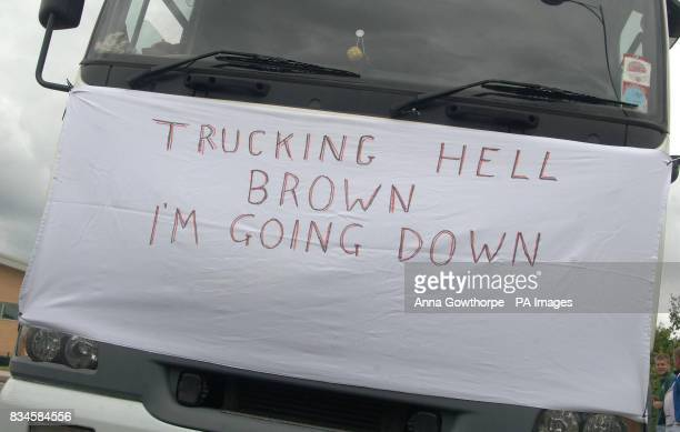 A banner displayed on one of the trucks taking part in a demonstration on the M62 in West Yorkshire to protest against high fuel prices