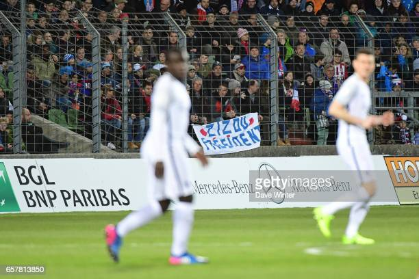A banner during the FIFA World Cup 2018 qualifying match between Luxembourg and France on March 25 2017 in Luxembourg Luxembourg