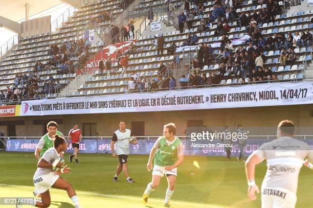 Banner during the Top 14 Match between Montpellier and Racing 92 on April 22 2017 in Montpellier France