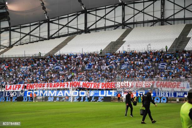 Banner fans of Marseille during the UEFA Europa League qualifying match between Marseille and Ostende at Stade Velodrome on July 27 2017 in Marseille...