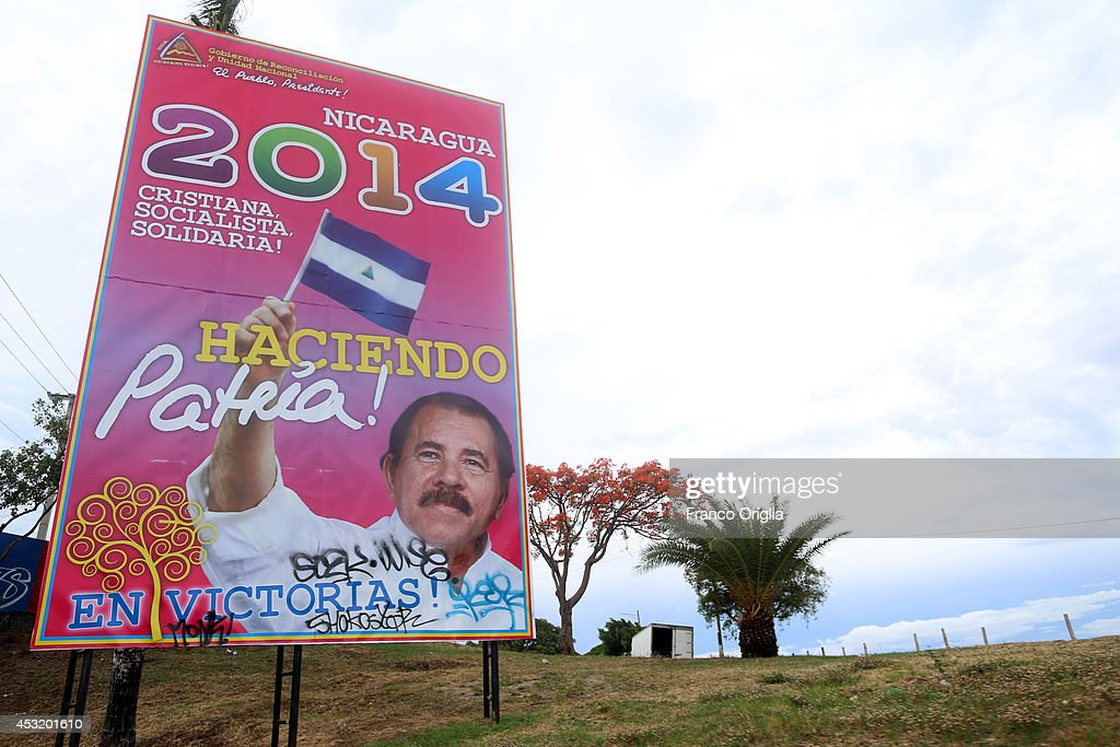A banner featuring President of Nicaragua Daniel Ortega is seen in a central street of Managua on May 31, 2014 in Managua, Nicaragua. Ortega is a leader in the socialist Sandinista National Liberation Front (Frente Sandinista de Liberacin Nacional, FSLN), his policies in government have seen the implementation of leftist reforms across Nicaragua.