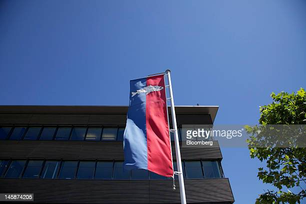 A banner flies outside the headquarters of Hublot SA in Nyon Switzerland on Tuesday June 5 2012 Hublot SA Chairman JeanClaude Biver said the watch...
