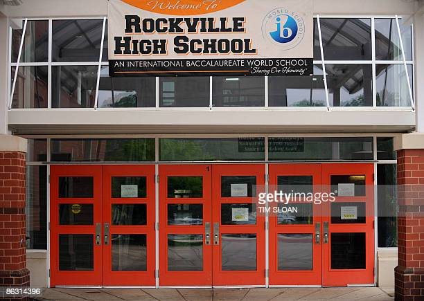 A banner for Rockville High School is displayed in Rockville Maryland The school has been closed indefinitely due to a probable case of swine flu on...