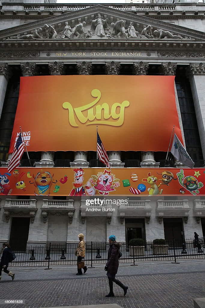 A banner for the mobile gaming company King is seen outside the New York Stock Exchange during King's initial public offering on March 26, 2014 in New York City. King is the maker of the popular mobile game Candy Crush.