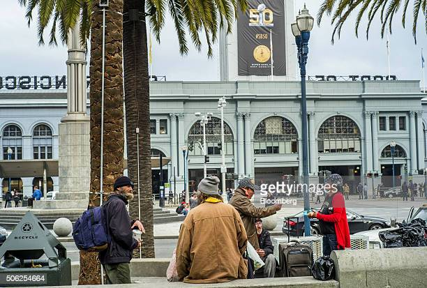 A banner for the National Football League's Super Bowl is displayed on the Ferry Building near Justin Herman Plaza in San Francisco California US on...