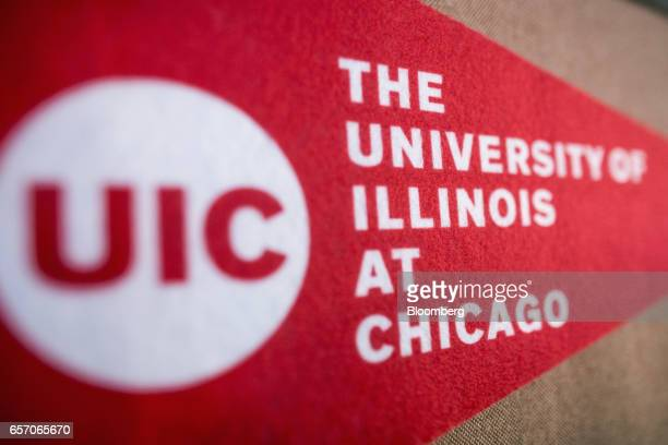 A banner for the University of Illinois at Chicago is displayed in a classroom at the United StatesIndia Education Foundation in Mumbai India on...