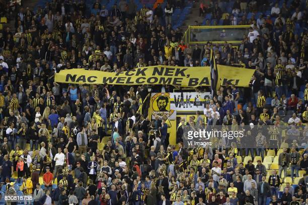 banner Fuck NEC NAC welcome back during the Dutch Eredivisie match between Vitesse Arnhem and NAC Breda at Gelredome on August 12 2017 in Arnhem The...