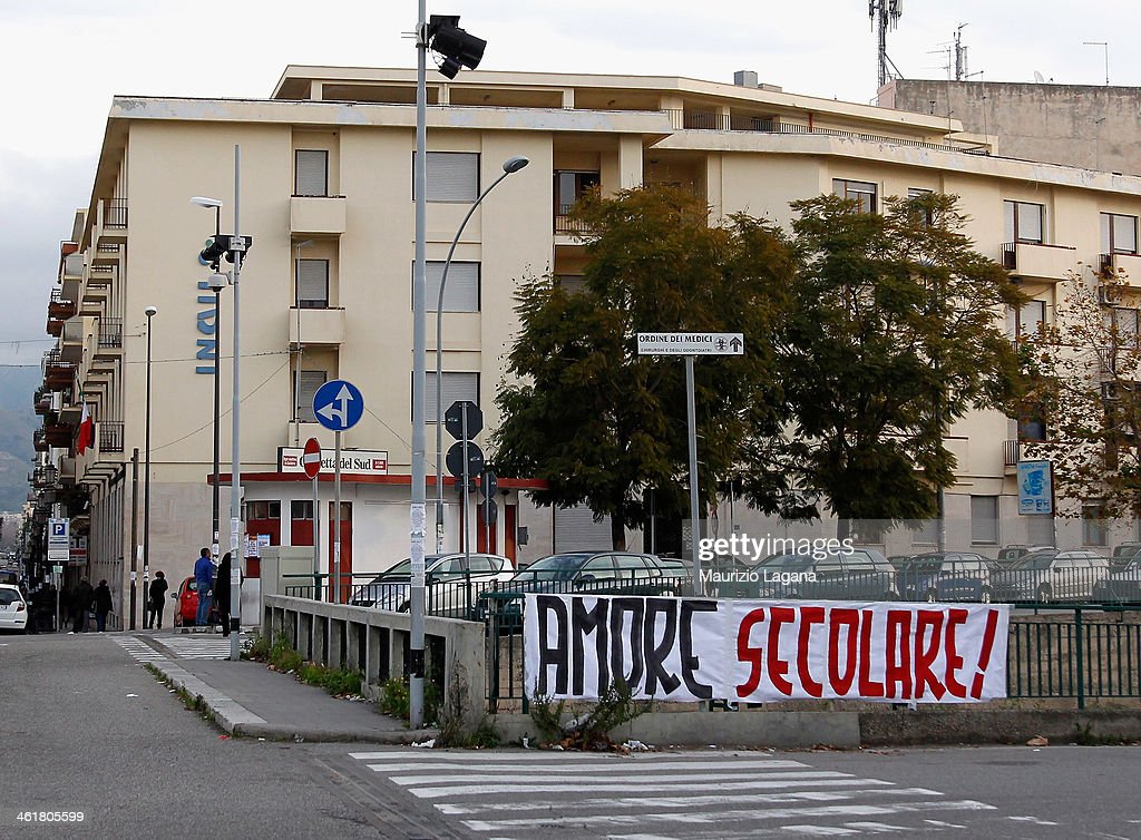A banner hanging in one of the city's streets during celebraltions to mark Reggina Calcio's 100th anniversary outside Oreste Granillo Stadium on...