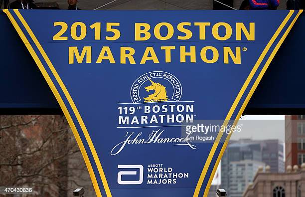 A banner hangs near the finish line before the start of the running of the 119th Boston Marathon on April 20 2015 in Boston Massachusetts