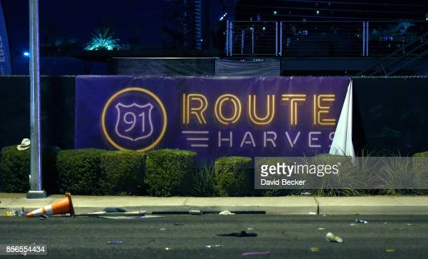 A banner hangs on the fence at the Route 91 Harvest country music festival grounds after a active shooter was reported on October 2 2017 in Las Vegas...
