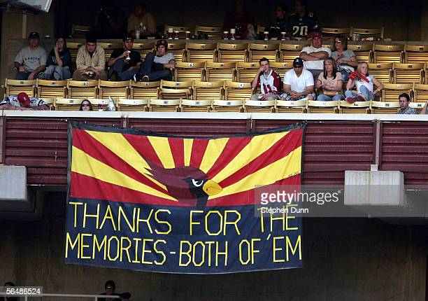 A banner hangs to commemorate the lack of success the Arizona Cardinals had in their 18 years at Sun Devil Stadium during their game against the...