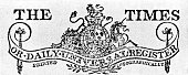 Banner head for The Times or Daily Universal Register Detail from the heading of the first number 1 st January 1788