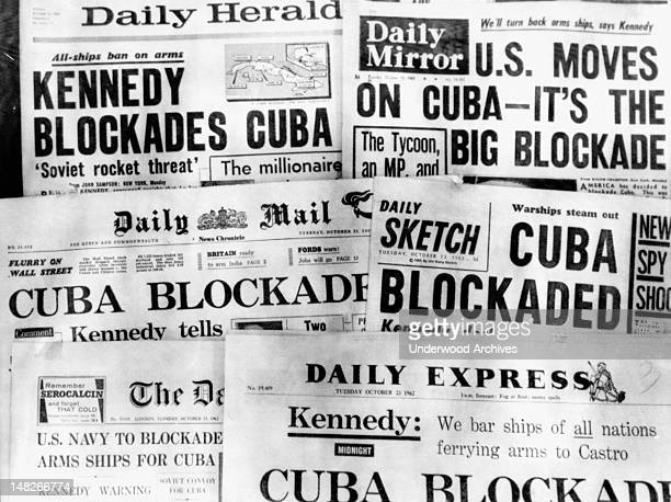 Banner headlines of Britain's daily newspapers on October 23 announcing President Kennedy's blockade of Cuba London England October 23 1962