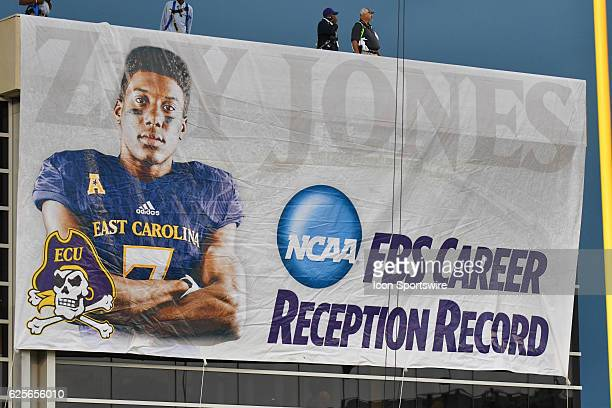 Banner honoring East Carolina Pirates wide receiver Zay Jones is hung on the Murphy Center honoring the new NCAA leader in career receptions during...
