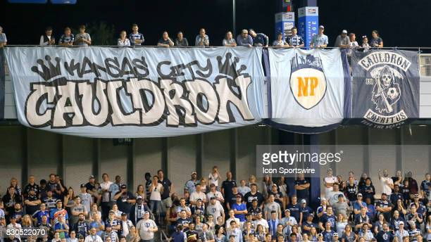 A banner in honor of Neal Patterson hangs above The Cauldron during the Lamar Hunt US Open Cup semifinal between the San Jose Earthquakes and...