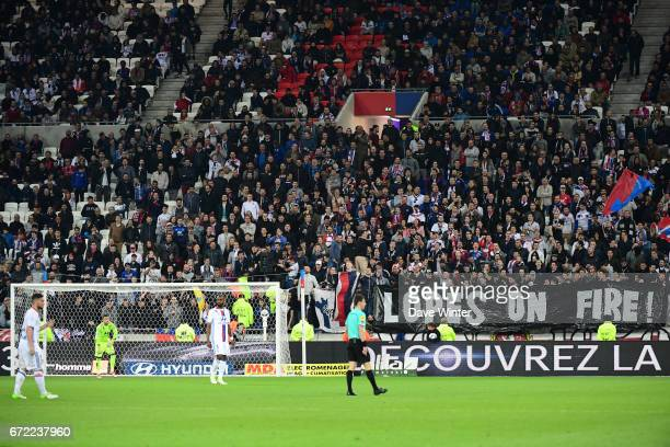 A banner in honour of Lyon goalkeeper Anthony Lopes during the Ligue 1 match between Olympique Lyonnais and AS Monaco at Stade des Lumieres on April...