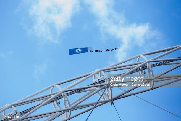 A banner in support of Chelsea manager Antonio Conte is flown over the stadium during the Emirates FA Cup SemiFinal match between Tottenham Hotspur...