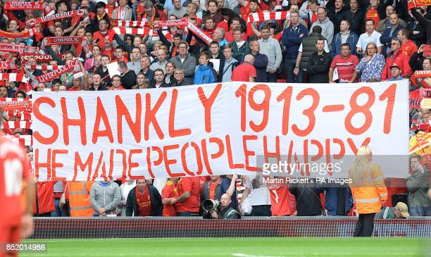 A banner in the stands at Anfield that reads 'Shankly 191381 He Made People Happy'