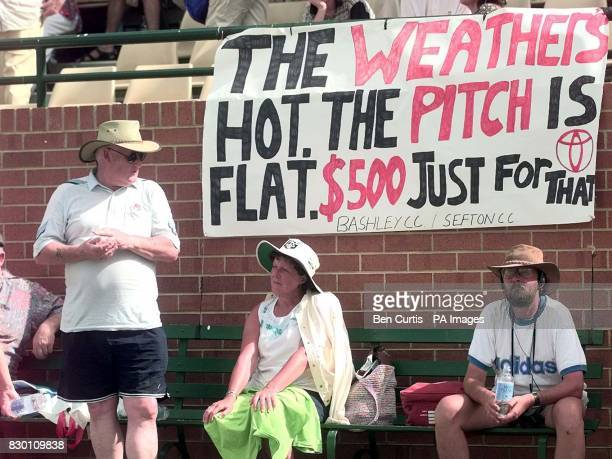 A banner in the stands at the Adelaide Oval today makes comment on the revelations over the last few days that Mark Waugh and Shane Warne received...