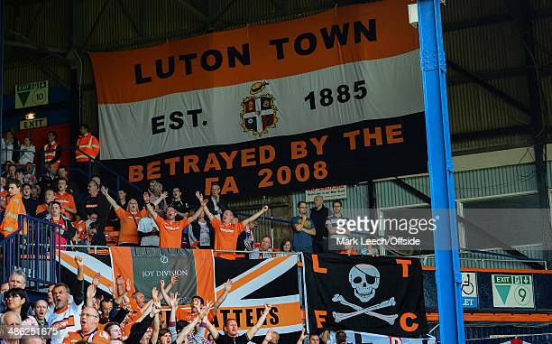 A banner inside Kenilworth Road which reads 'Luton Town EST 1885 Betrayed by the FA 2008' during the Skrill Conference Premier match between Luton...