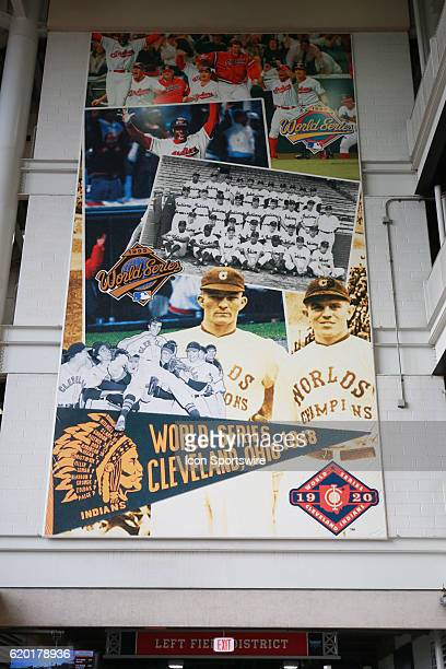 A banner inside of Progressive Field shows the last World Series appearances prior to game 6 of the 2016 World Series against the Chicago Cubs and...