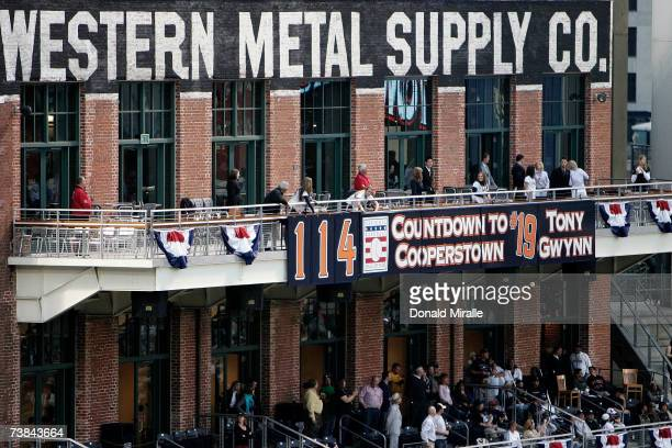 A banner is hung on the Western Metal Supply Co building counting down the days until former San Diego Padres right fielder Tony Gwynn is enshrined...
