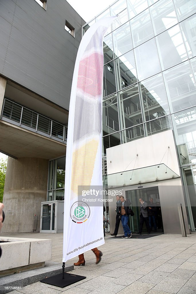 A banner is seen in front during the DFB Football Museum groundbreaking ceremony at Harenberg City Center on April 29, 2013 in Dortmund, Germany.