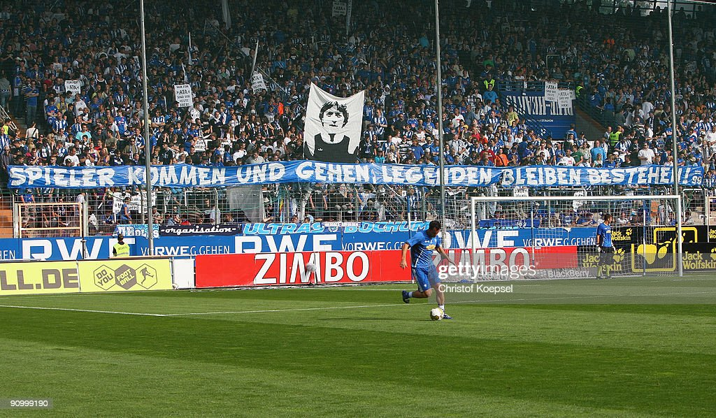 A banner is seen prior to the Bundesliga match between VFL Bochum and FSV Mainz at Rewirpower Stadium on September 19 2009 in Bochum Germany