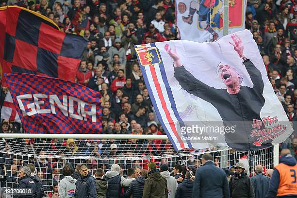 A banner is shown in memory of Franco Scoglio manager of Genoa CFC during the Serie A match between Genoa CFC and AC Chievo Verona at Stadio Luigi...