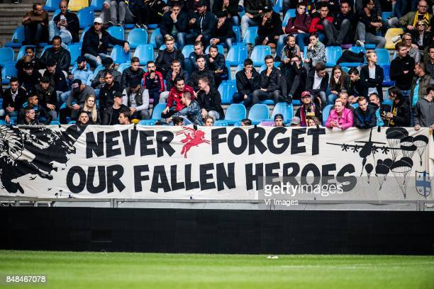 banner never forget our fallen heroes during the Dutch Eredivisie match between Vitesse Arnhem and VVV Venlo at Gelredome on September 17 2017 in...