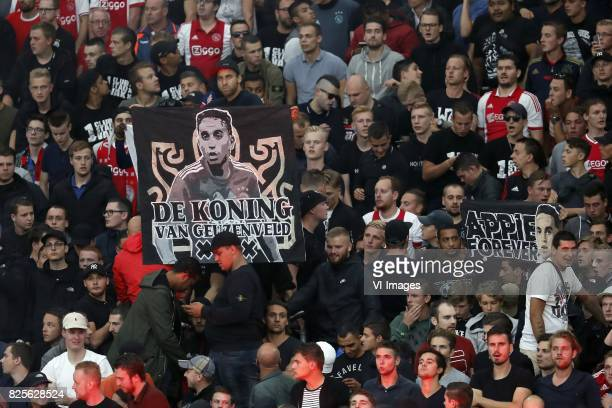banner of Abdelhak Nouri of Ajax stay strong Appie during the UEFA Champions League third round qualifying first leg match between Ajax Amsterdam and...