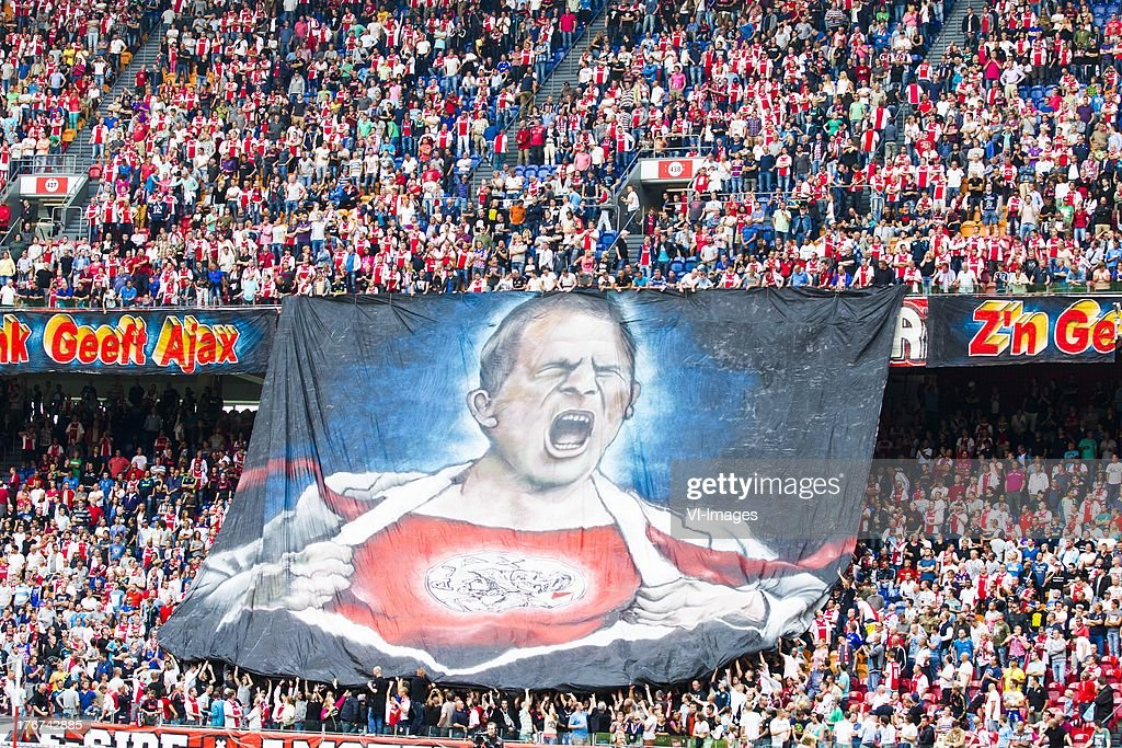 Banner of Frank de Boer of Ajax during the Dutch Eredivisie match between Ajax Amsterdam and Feyenoord on August 18, 2013 at the Amsterdam Arena in Amsterdam, The Netherlands.