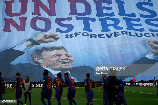 Banner of homage to Luis Enrique Martinez during La Liga match between FC Barcelona v SD Eibar in Barcelona on May 21 2017