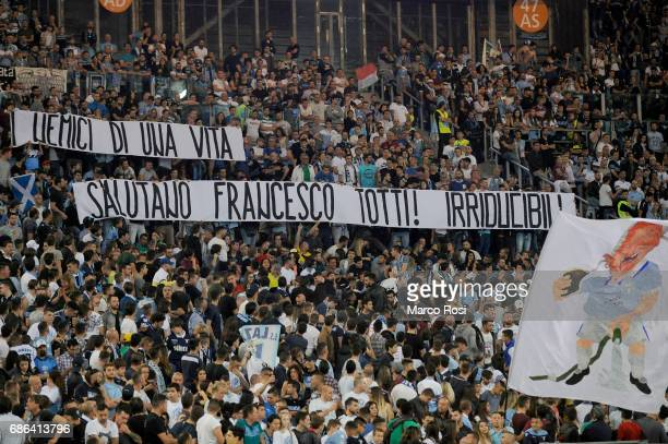 Banner of Lazio fans of greeting to francesco totti during the Serie A match between SS Lazio and FC Internazionale at Stadio Olimpico on May 21 2017...