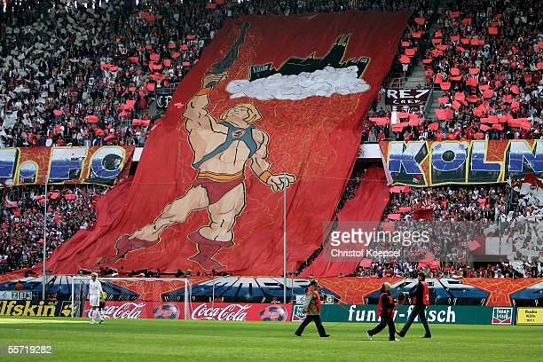 A banner of the fans of Cologne before the Bundesliga match between 1 FC Cologne v Borussia Monchengladbach at the RheinEnergie stadium on September...