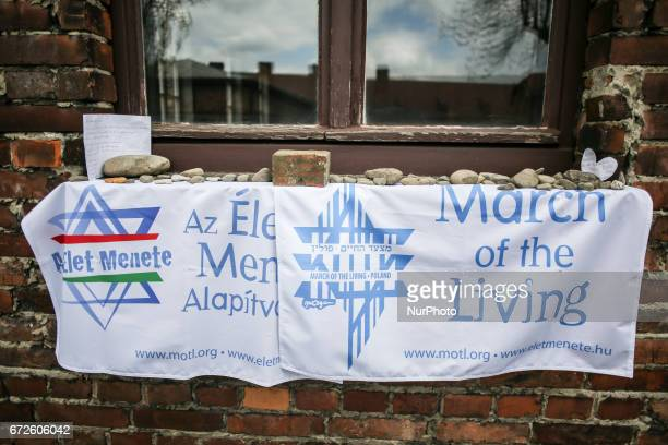 A banner of the 'March of the Living' at the former NaziGerman Auschwitz Birkenau concentration and extermination camp at Oswiecim Poland on April 24...