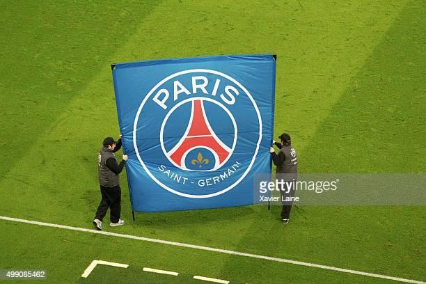 A banner of the Paris SaintGermain logo during the French Ligue 1 between Paris SaintGermain and ESTAC Troyes at Parc Des Princes on November 28 2015...