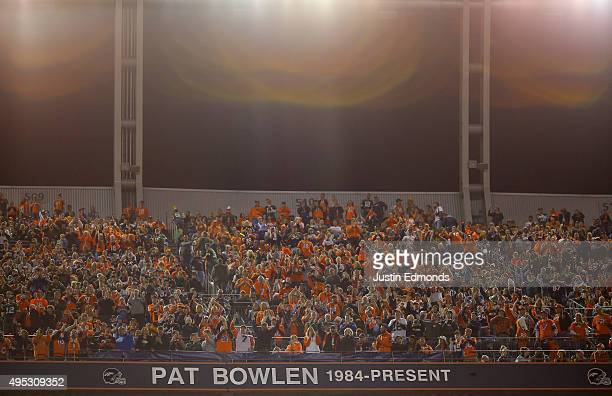 A banner on the stadium reads 'Pat Bowlen 1984present' as fans look as Pat Bowlen Owner of the Denver Broncos is inducted into the Ring of Fame...