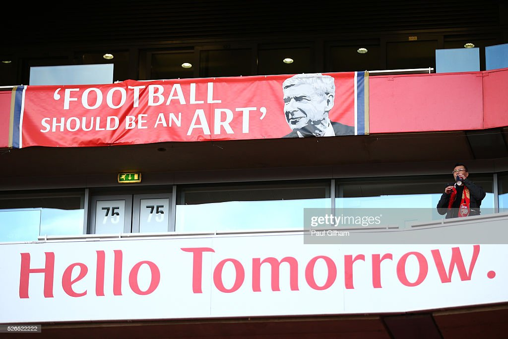 A banner protesting to Arsene Wenger is seen prior to the Barclays Premier League match between Arsenal and Norwich City at The Emirates Stadium on April 30, 2016 in London, England.