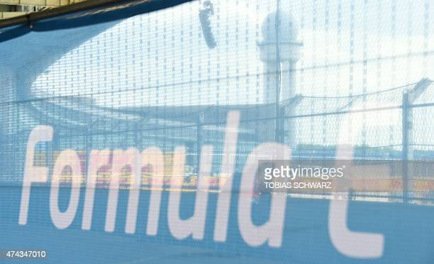 A banner reading 'Formula E' is pictured in Berlin on May 22 2015 on the eve of the 2015 Fia Formula E Berlin championships The Formula E series...