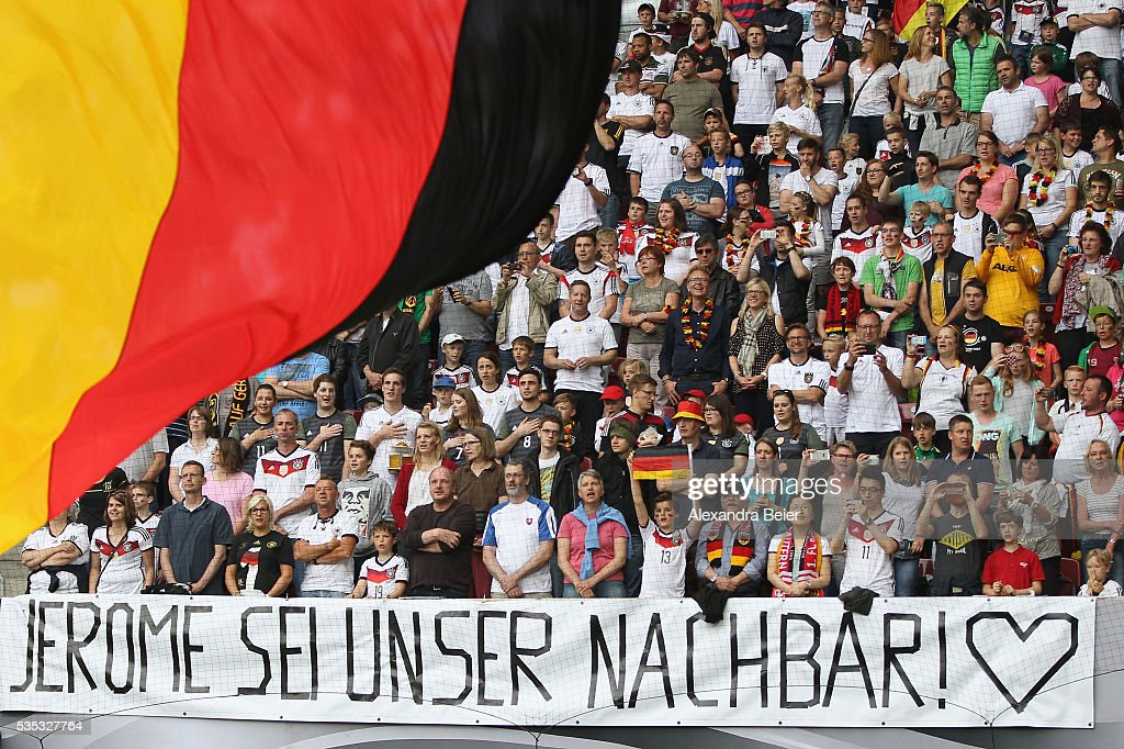 A banner reading 'Jerome be our neighbour' is pictured before the international friendly football match between Germany and Slovakia at WWK-Arena on May 29, 2016 in Augsburg, Germany.