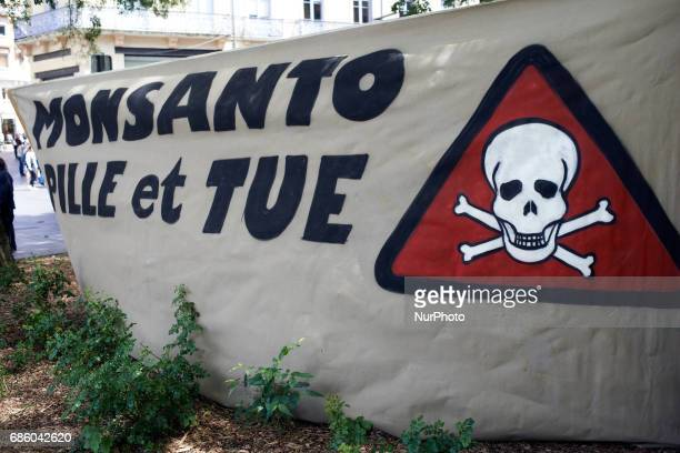 A banner reading 'Monsanto plunders and kills' People march in Toulouse for the International March against Monsanto as elsewhere in Europe or in...