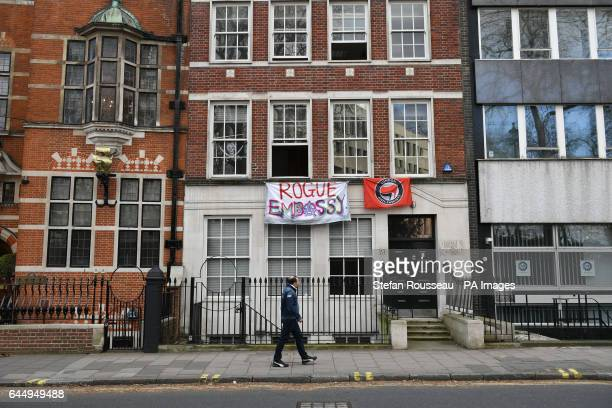 A banner reading quotRogue Embassyquot hangs outside 19 Buckingham Gate London which has been squatted by the Autonomous Nation of Anarchist...