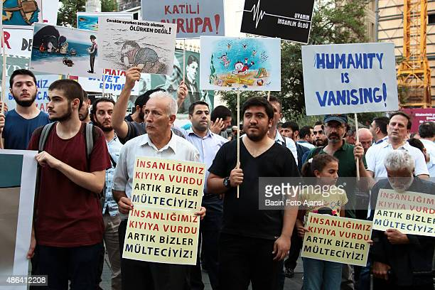 A banner reads ' Mankind is dying Humanity hit the shore ' The demonstrators protested against the UN's Refugee Policy and EU's on Istiklal street in...