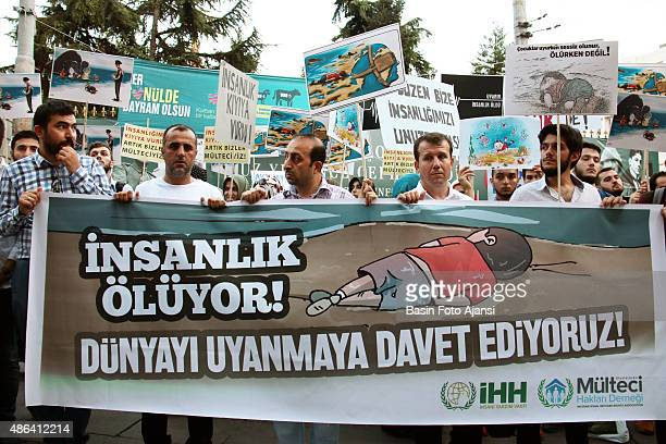 A banner reads ' Mankind is dying Wake up the World ' The demonstrators protested against the UN's Refugee Policy and EU's on Istiklal street in...