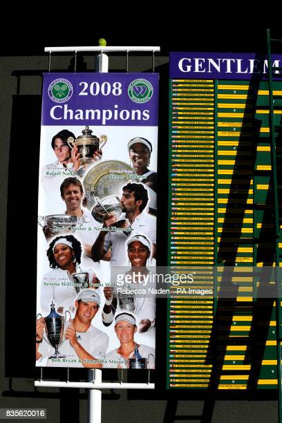 A banner showing the Wimbledon Champions of 2008